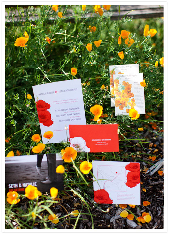 orange poppy  wedding invites