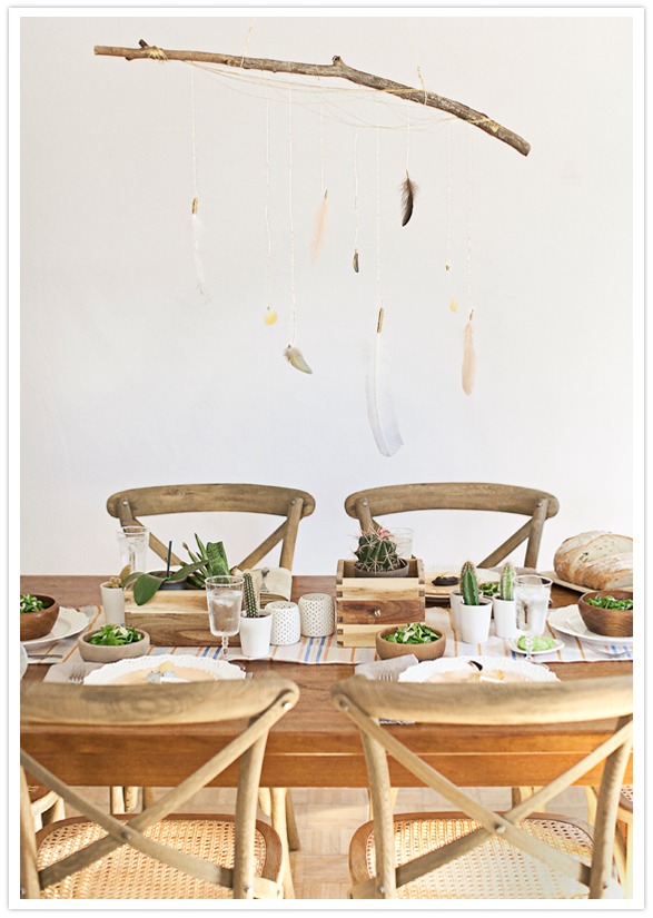 Bohemian table-scape for a modern baby-shower.