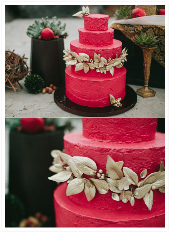 hot pink and gold wedding cake bohemian styled shoot wedding inspiration 100 layer cake 15331