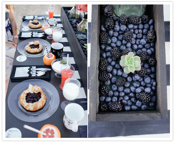 blueberry tarts and succulent centerpieces