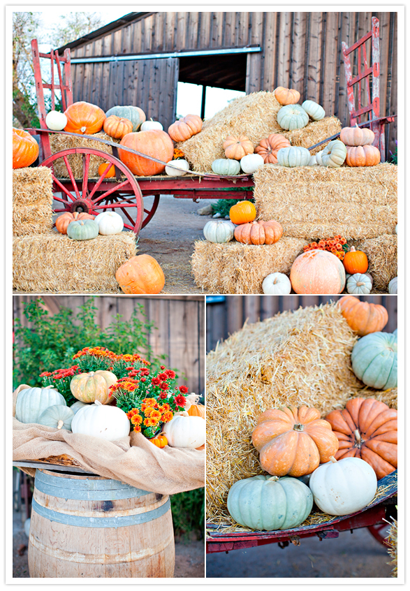 pumpkin and hay bale-filled cart