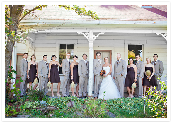 purple and gray wedding party wardrobe