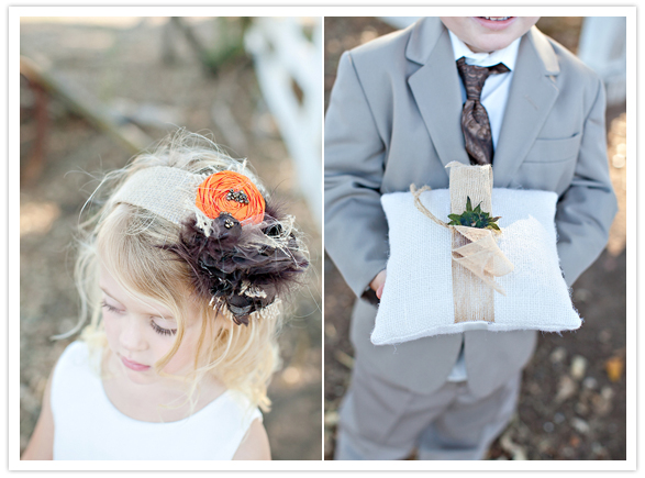 burlap flower girl hairpiece and ring bearer pillow