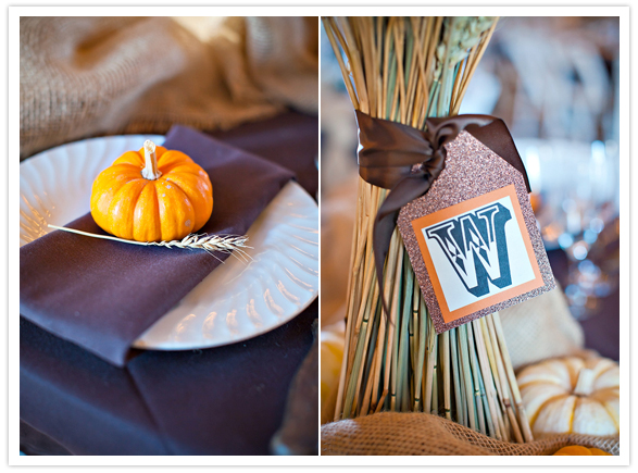 mini pumpkins and gathered wheat centerpieces