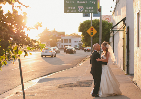 Los Angeles cityscape wedding portraits