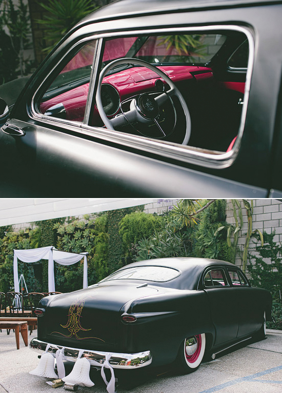 black 1950 Ford Custom with red interior