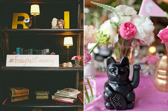 black good luck cat statues and wedding hash tag