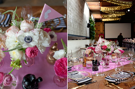 pink and white flowers and black accents