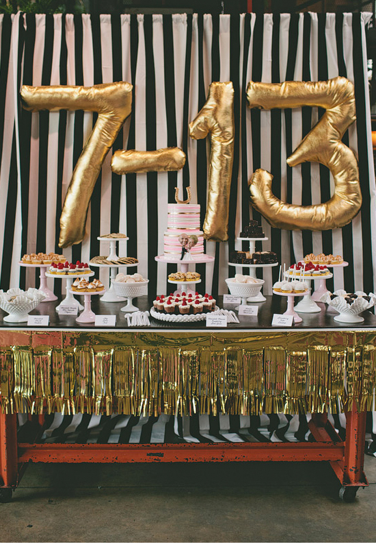 gold number balloons and gold fringe dessert table