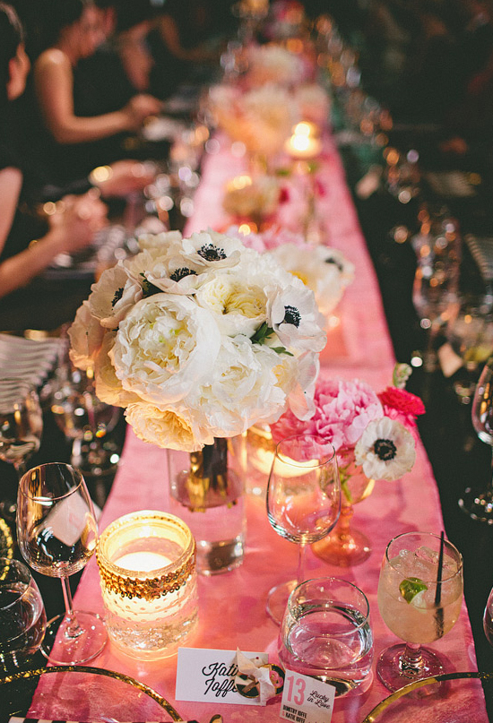 black and white anemones centerpieces and pink linens