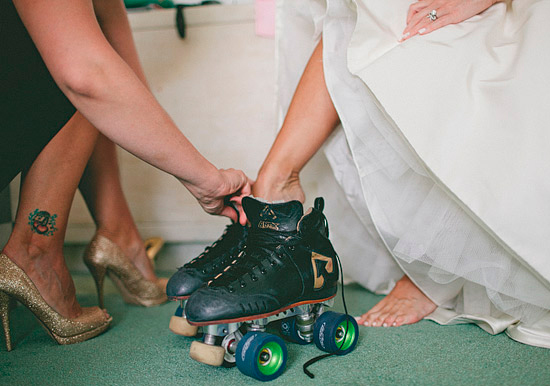 roller skate wedding portraits