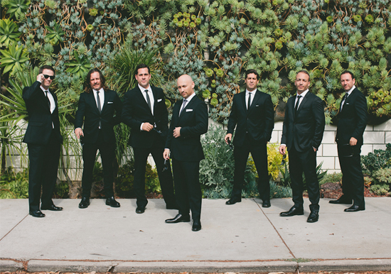black suited groomsmen