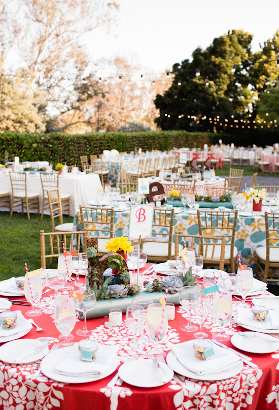 colorful outdoor garden wedding reception