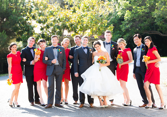 ruby red and navy wedding party wardrobe
