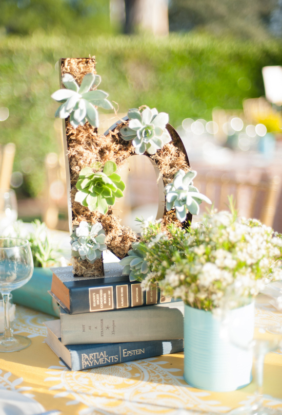alphabet terrariums and library-themed table decor