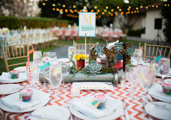 alphabet table cards, letter-shaped terrariums, and succulent centerpieces