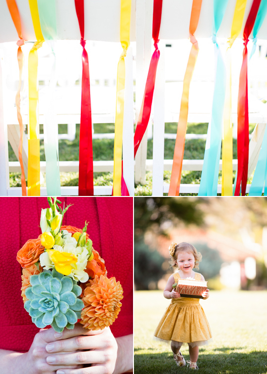 colorful wedding ceremony details, orange and yellow bridesmaid bouquet and yellow flower girl dress