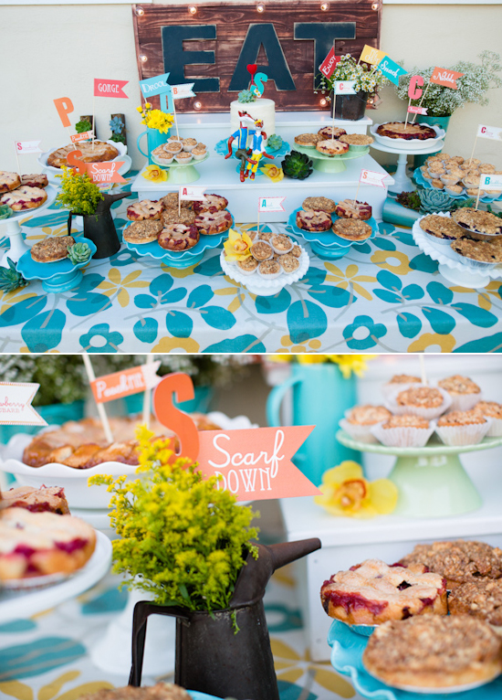 floral dessert table linens and individual pies