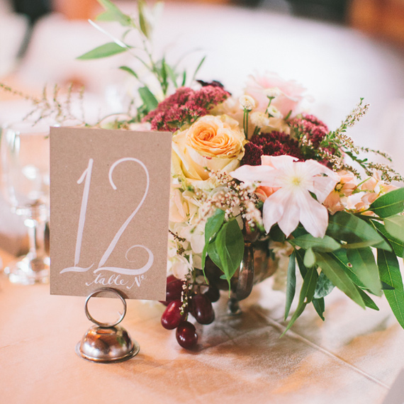 white calligraphed table number | Steven Michael Photo | 100 Layer Cake