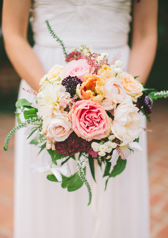 Peach and pink wedding bouquet | Steven Michael Photo | 100 Layer Cake