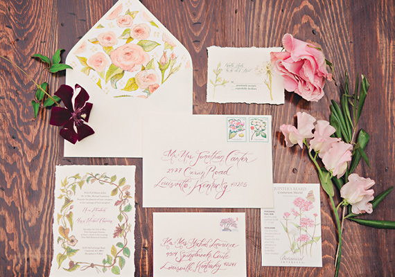 So In Love With This Wedding Invitation Suite Local Louisville Etsy Artist Heart Felt By Bri Hand Painted Everything From The Invites To Place Cards