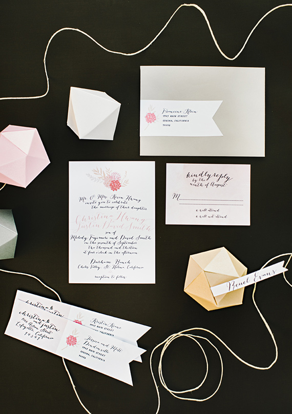 Colorful, modern Durham Ranch wedding   invite by Enjoy Events Co   photo by Delbarr Moradi Photography   Read more - https://www.100layercake.com/blog/?p=66301