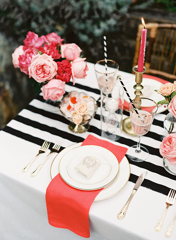 Pink White and Black Dinner Party Gift Hearts Table Decor