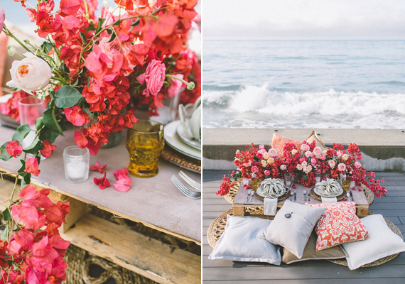 Coastal red and pink wedding ideas | Photo by Anna Delores Photography | Florals by Stella Bloom | Event design by  Love Inc Weddings | Read more -  https://www.100layercake.com/blog/?p=71280