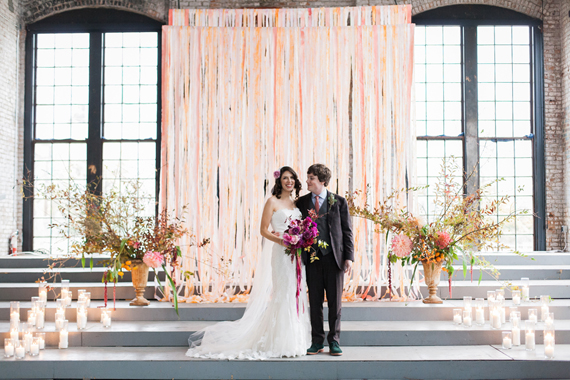 Ribbon ceremony backdrop | Photo by Lisa Berry | Read more - https://www.100layercake.com/blog/?p=76472