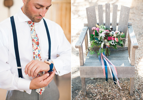 Floral tie | Photos by Brandi Welles | Read more -  https://www.100layercake.com/blog/wp-content/uploads/2015/04/Colorful-Rustic-Barn-Wedding