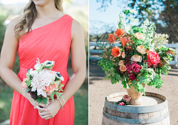 Coral bridesmaid dresses | Photos by Brandi Welles | Read more -  https://www.100layercake.com/blog/wp-content/uploads/2015/04/Colorful-Rustic-Barn-Wedding