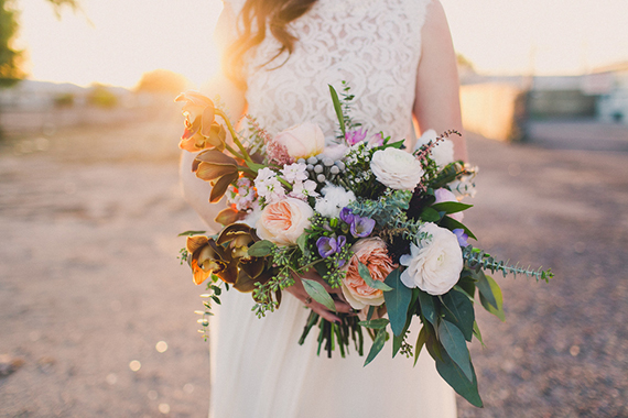 sunset bride and bouquet