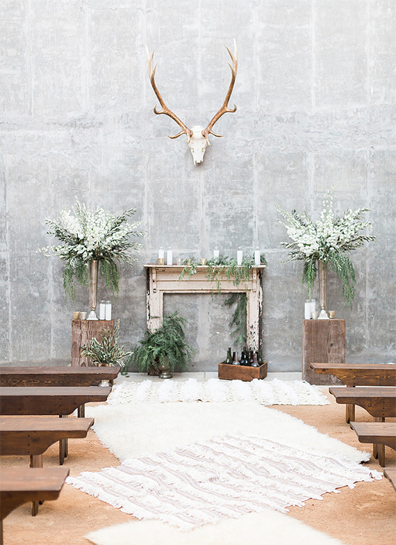 earthy boho wedding altar