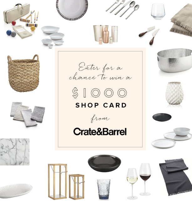 $1000 giveaway to Crate and Barrel from 100 Layer Cake