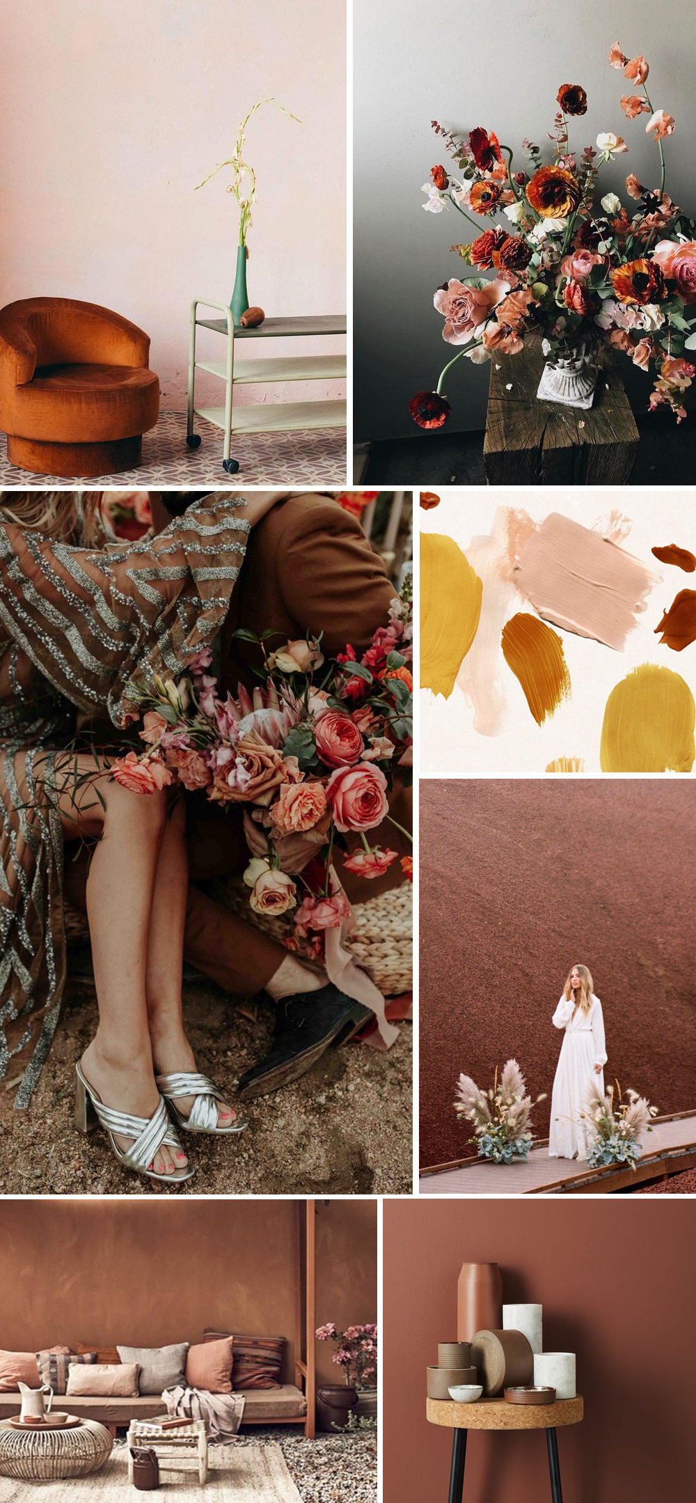 Rust blush and mustard color trend