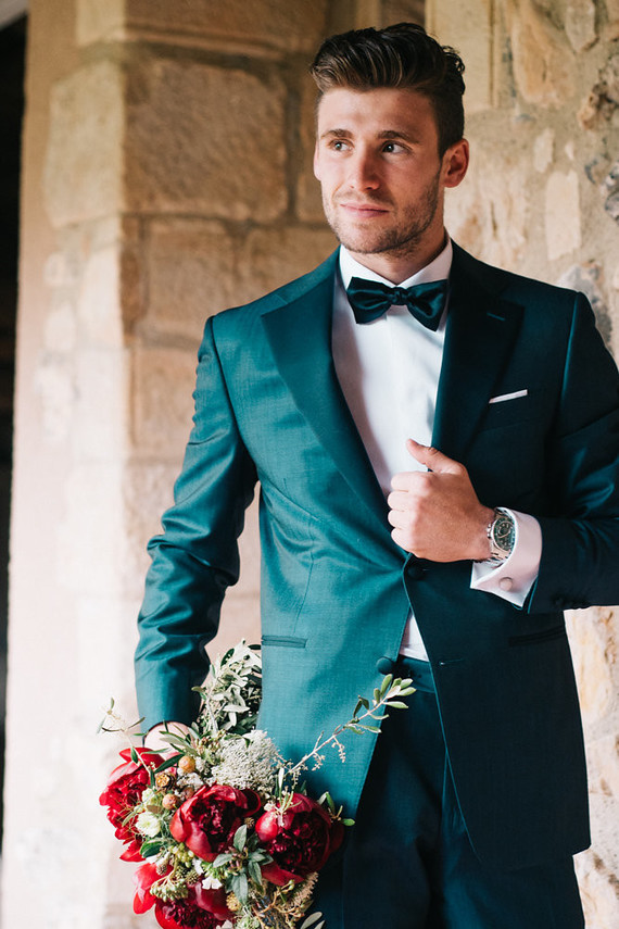 Emerald groom's suit