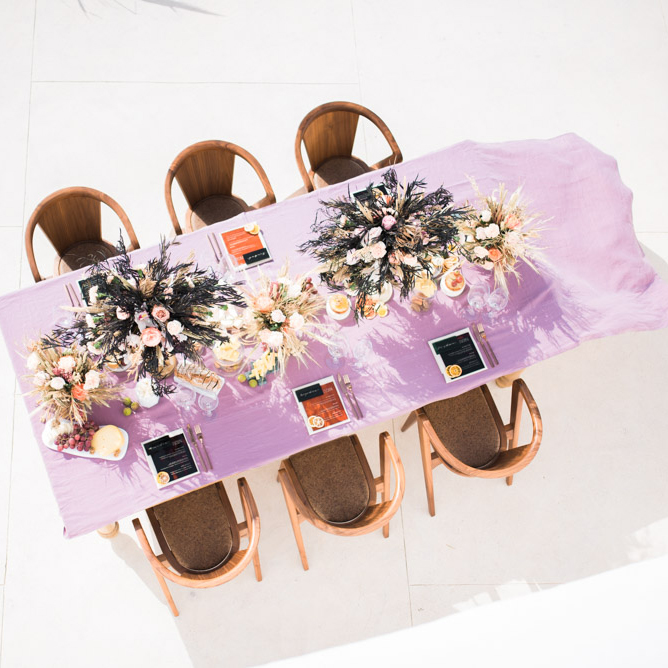 lilac tablescape in santorini