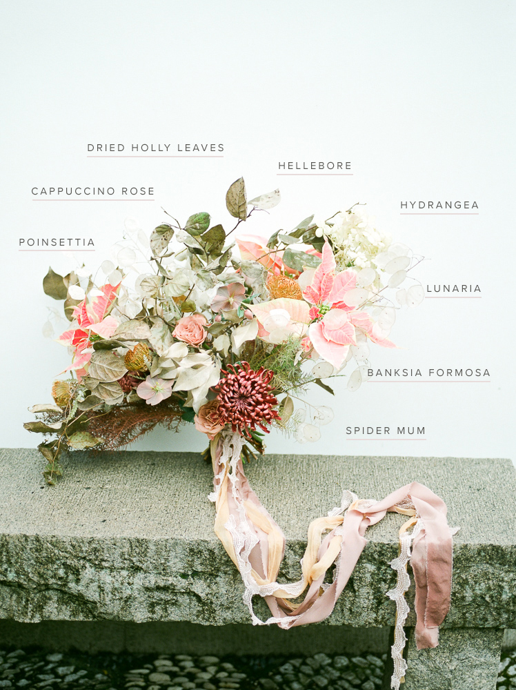 Jade and blush winter bouquet recipe