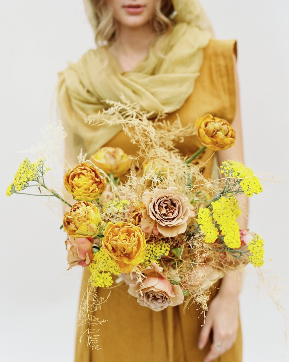 Modern yellow bouquet by siren floral co