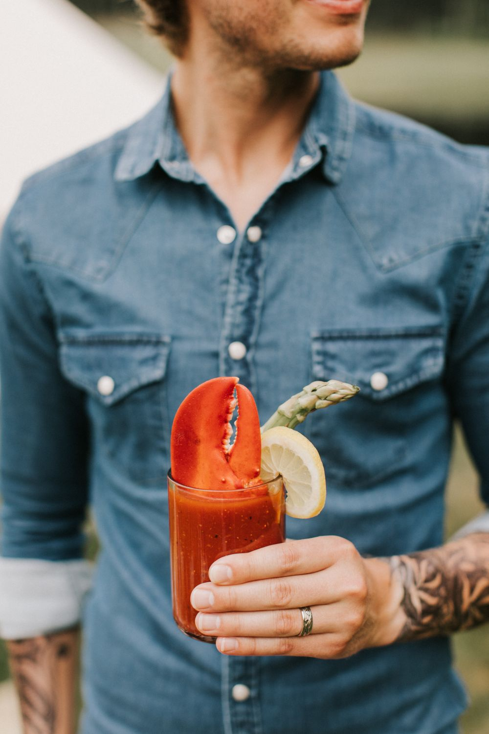 Lobster claw bloody mary