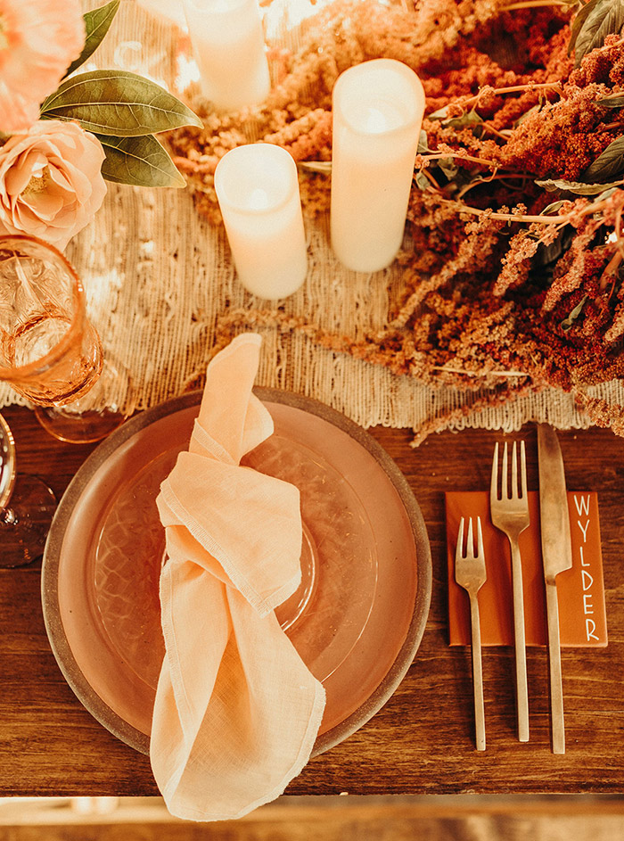 Peachy wedding place setting