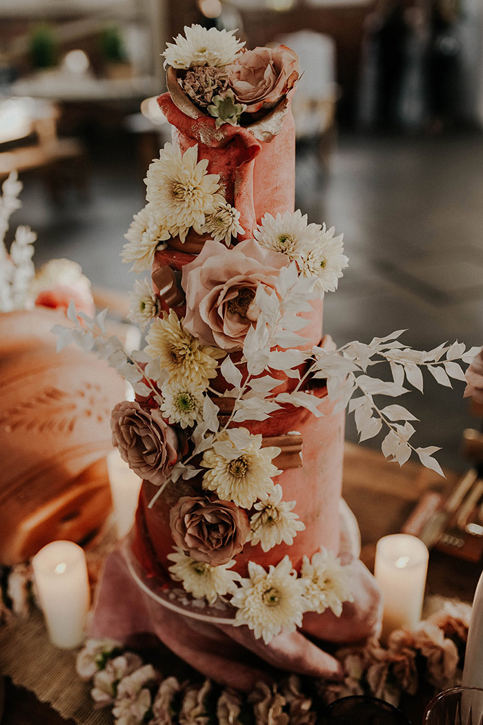 Coral floral wedding cake