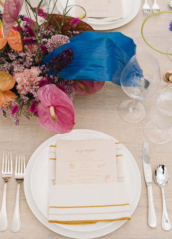 Colored floral place setting