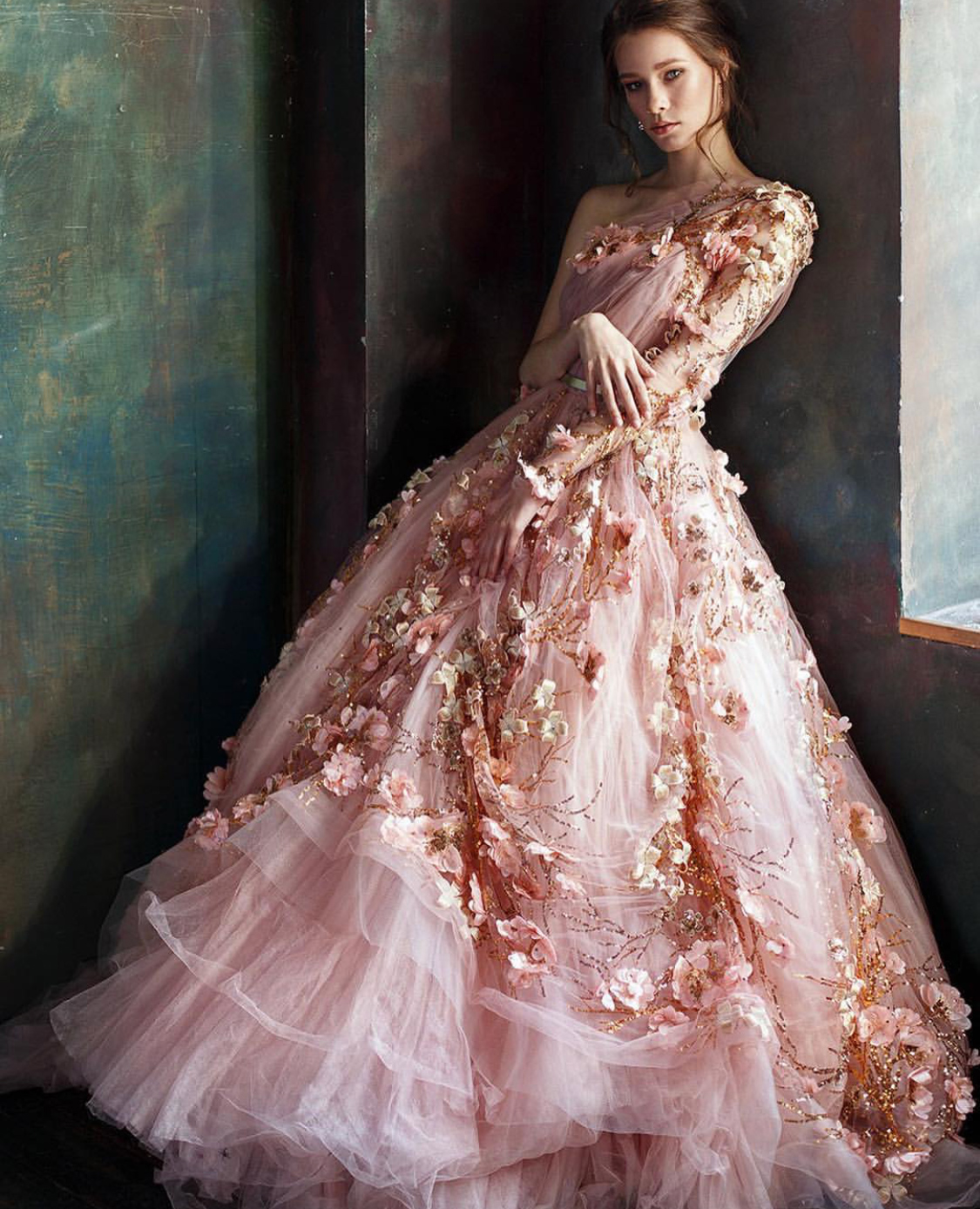 Embroidered floral pink wedding gown
