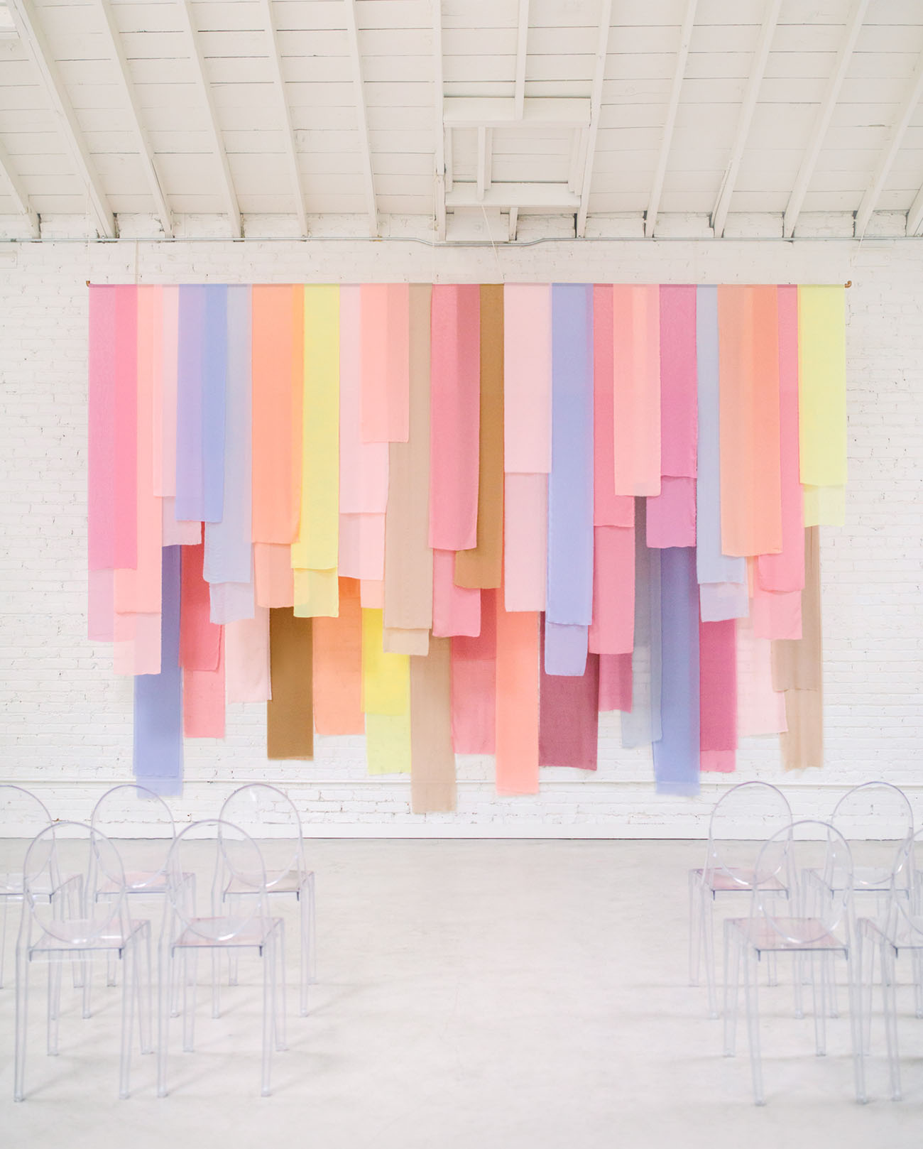Pastel ceremony backdrop for wedding