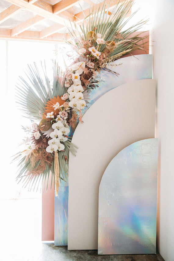 iridescent wedding sign