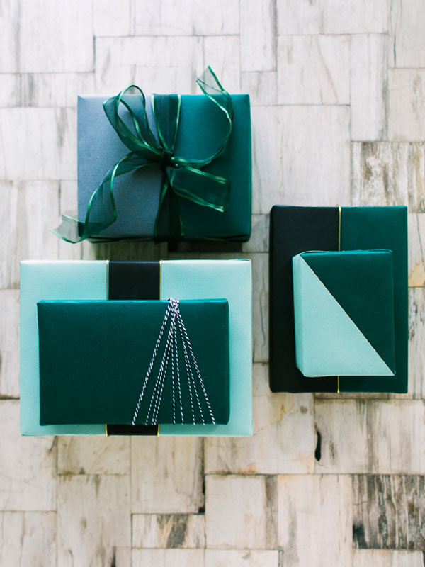 colorblock gift wrap