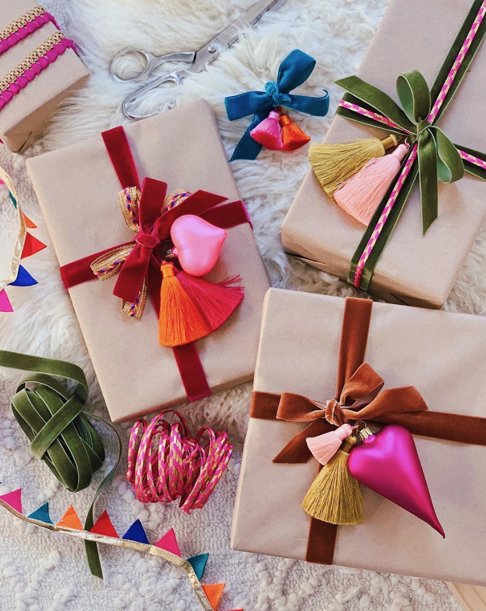 colorful DIY gift wrap