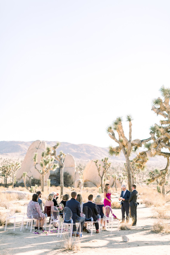Joshua Tree elopement with pink wedding dress - 100 Layer Cake