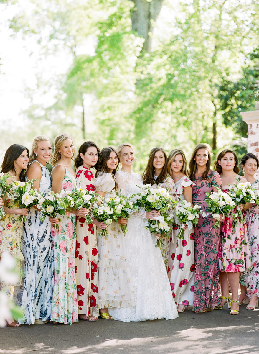 mixed print floral bridesmaid dresses for spring wedding / photo by anagram photo